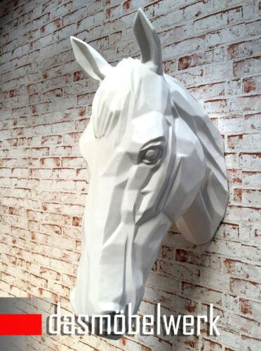 XXL Testa di Cavallo muro personaggio scultura Horse Cavallo Testa Decorazione Cavalli Busto Bianco
