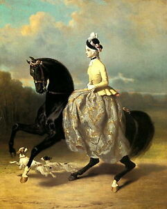 8x10 print EQUESTRIAN Art Victorian Lady Riding Costume Hat & Dress SIDE SADDLE