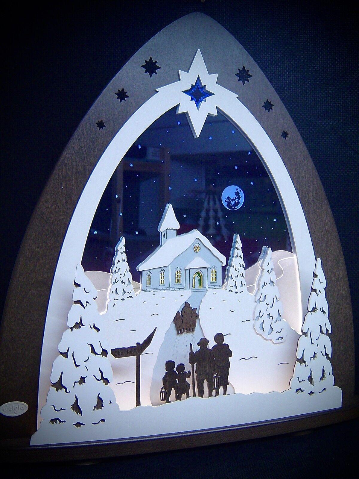 3d Lumières DEL Arc Plexiglas Schwibbogen avec bois bergkapelle 52 x 53 cm 10670