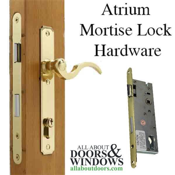 Atrium Door Hardware, Lever Style Mortise Lock   Polished Brass