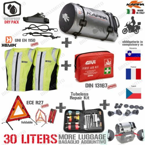 RIDER TRAVEL BAG WA401S + MEDICAL KIT DIN 13167 TYRE REPAIR + 2 REFLECTIVE VEST