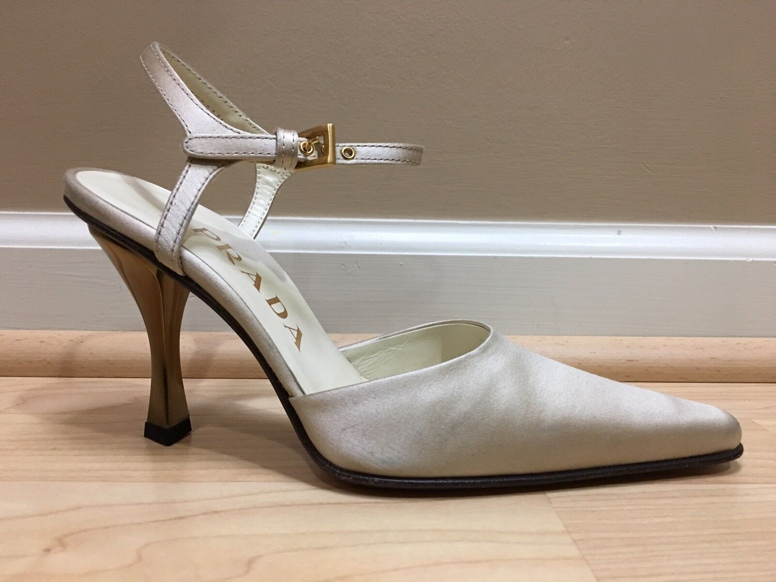 PRADA gold SATIN ANKLE STRAP HIGH HEEL SHOES 35.5 MADE IN ITALY 100% AUTHENTIC