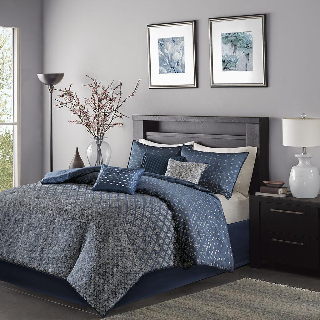 Beautiful Deluxe Navy Jacquard Sequins Ombre Comforter 7 pcs Set Cal King Queen