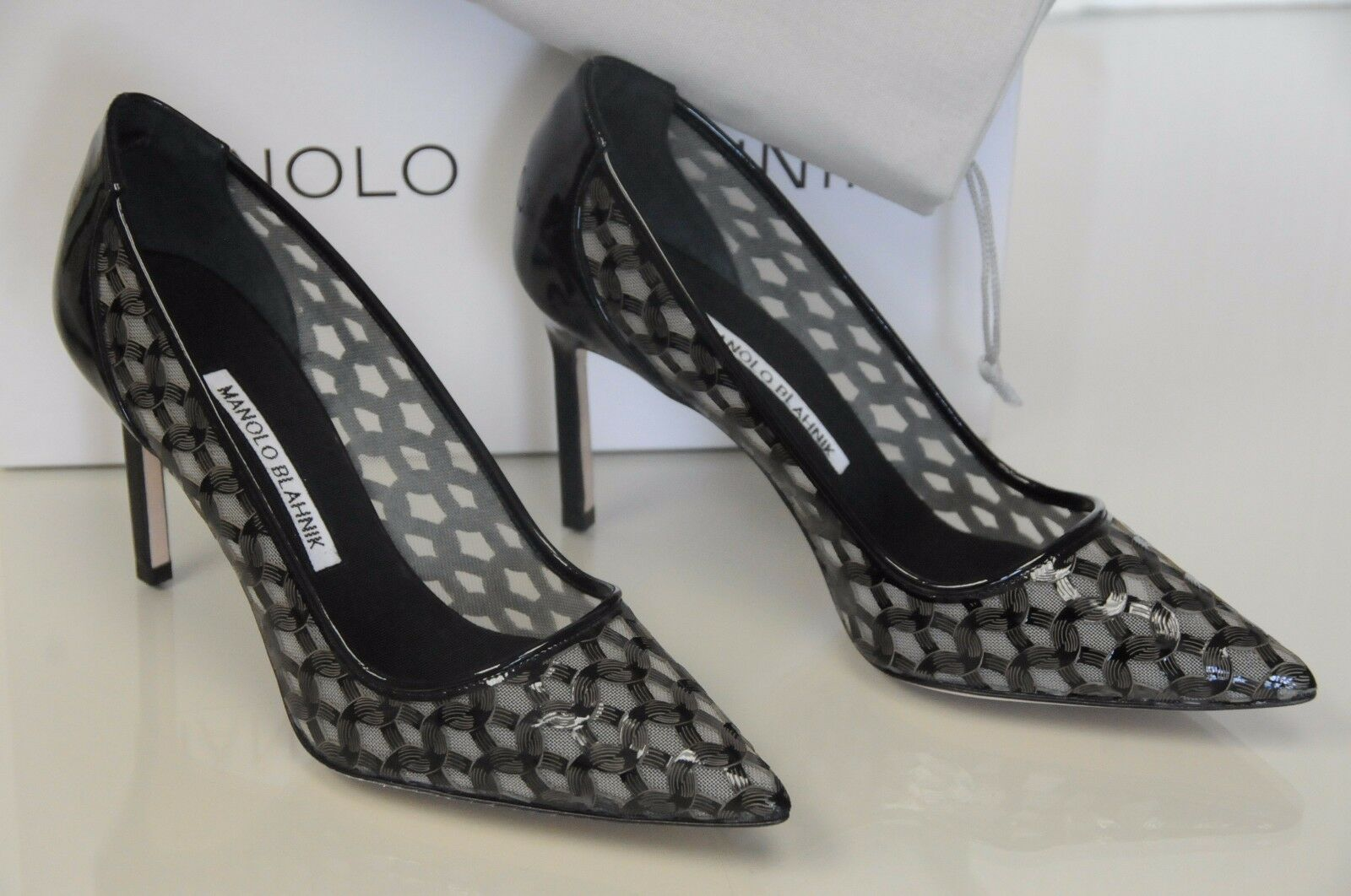 865 New MANOLO BLAHNIK FELLOW 90 Black Patent Pumps  BB Heels SHOES 36