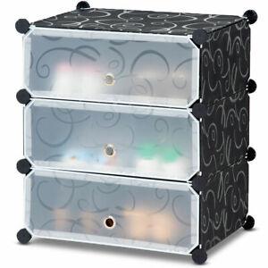3-Cube-DIY-Portable-Shoe-Rack-Storage-Cabinet-6-Pair-Space-Saving-Organizer-New