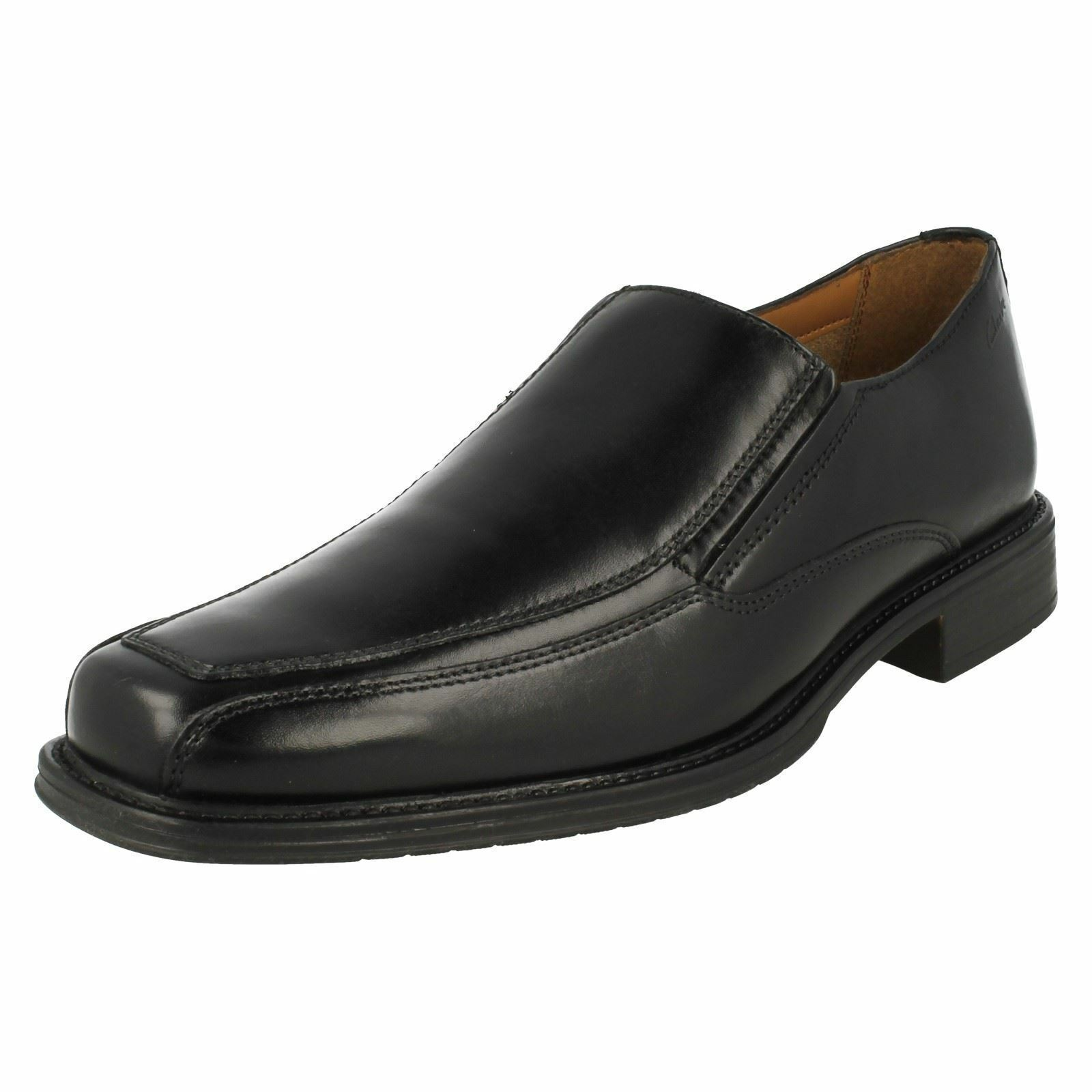Mens Clarks Driggs Slip Free schwarz Leder Smart Slip Driggs On Schuhes G Fitting da3a32