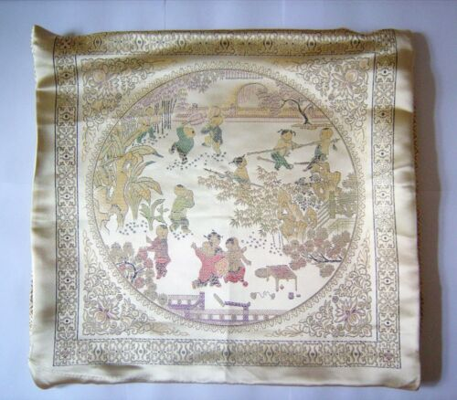 """a30 Silk Pillow cases one pair pale gold with chinese garden 16,5x 16,5/"""""""