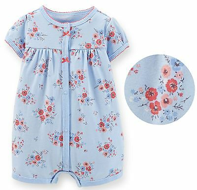 Carter/'s baby girl elegant blue floral snap romper creeper short-all one piece