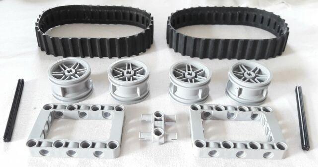 2 x Lego System Gummi Kette schwarz 20 Zähne Raupe Bagger Black Tread small x939