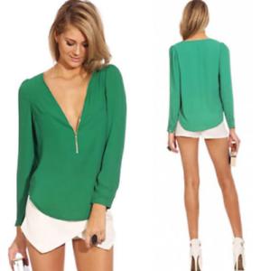 Seyx Women's V-NECK Loose Long Sleeve Chiffon Casual T Shirt Tops Blouse Tee