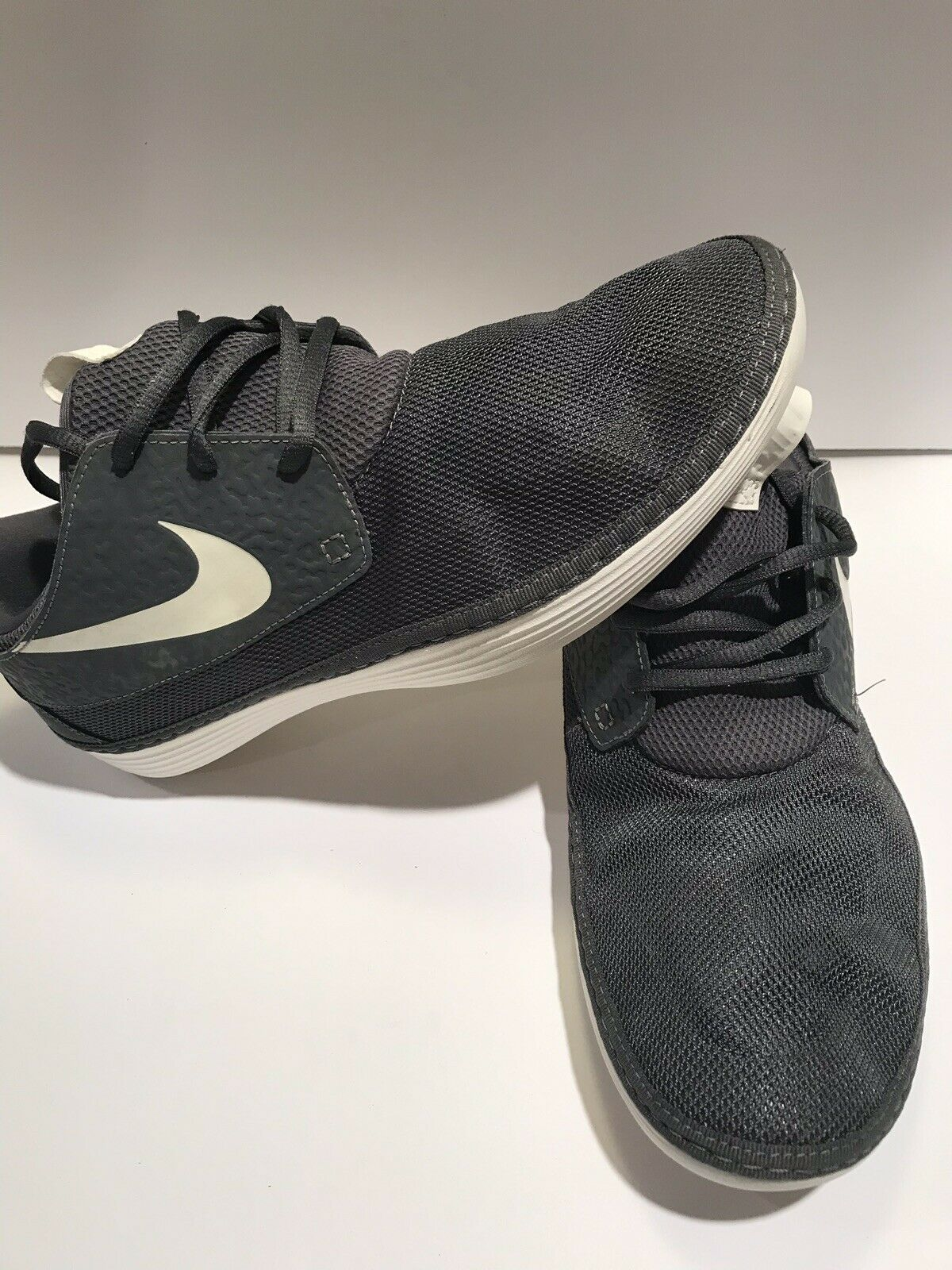 2013 NIKE SOLARSOFT MOCCASIN DARK GREY SAIL WHITE VOLT COOL 555301-003 Size 13