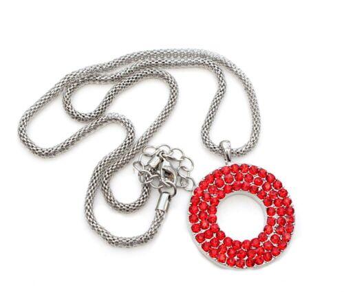NEU rot Halskette Schlangenkette Strasskette grosser Donut Anhänger