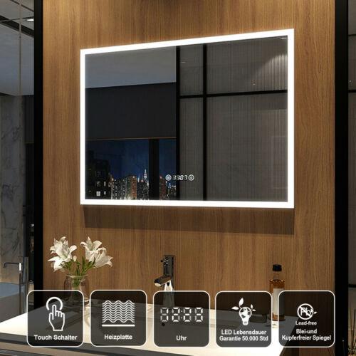 LED Badezimmerspiegel 80x60cm Badspiegel mit Touch Beschlagfrei Uhr Wandspiegel