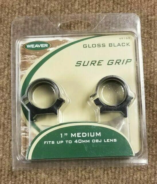 "Gloss Black Weaver Sure Grip Windage Adj 1/""- Medium Scope Rings"