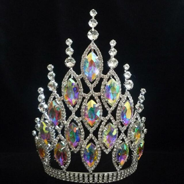 Rhinestone Crystal Crown Tiara Large 8 inch Drag Queen Beauty Pageant