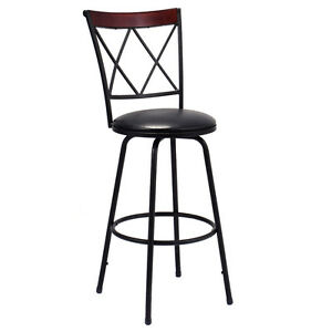 Swivel Bar Stool Pu Leather Steel Counter Height Modern