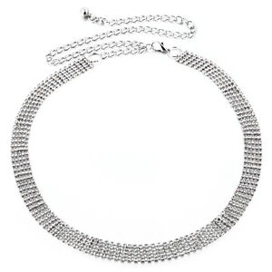 5 Row Diamante Ladies Waist Chain Charm Belt in Silver Fashion One Size Fits All