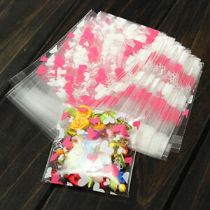 100X-Self-Adhesive-Heart-Plastic-Cookie-Candy-Package-Cellophane-Gift-Bags-New