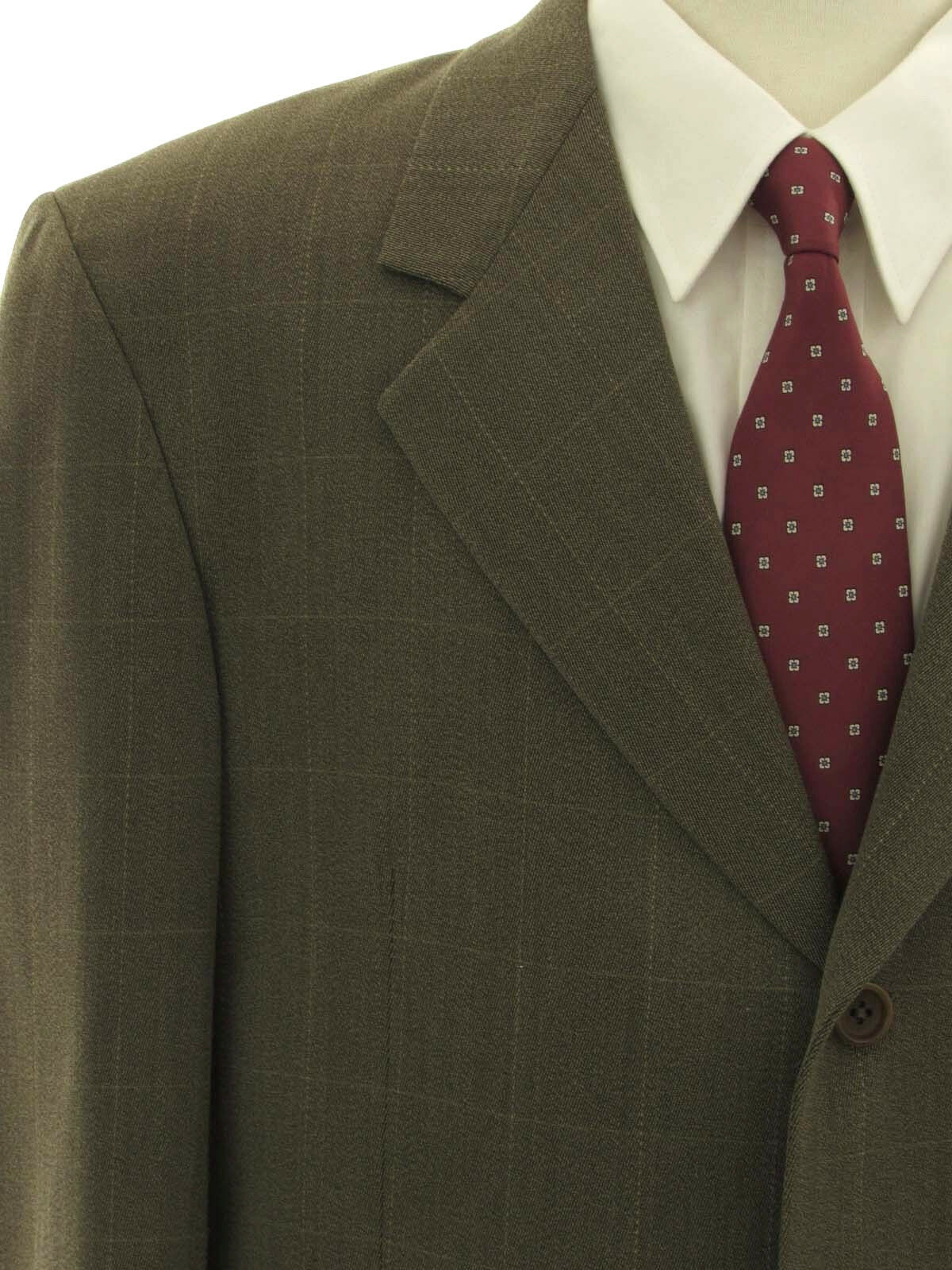 Hickey Freeman Wool Windowpane 44R Pleated Front Three Button Suit W34 L29.5