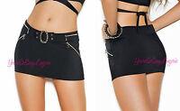 Plus Size Black Micro Mini Skirt Silver Zippers & Buckle Stretch Lycra Clubwear