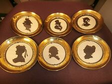 """SET OF 6 round CAMEO with brass frame, made in England, 5"""" diameter"""