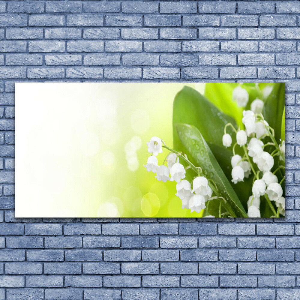 Glass print Wall art 140x70 Image Picture Lily Of The Valley Leaves Floral