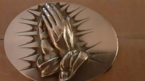 Religious Christian PRAYING HANDS Pewter BELT BUCK