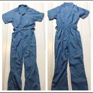 Vintage 80s Blue Boiler Jumpsuit Belted Gathered Short Sleeve Retro Medium
