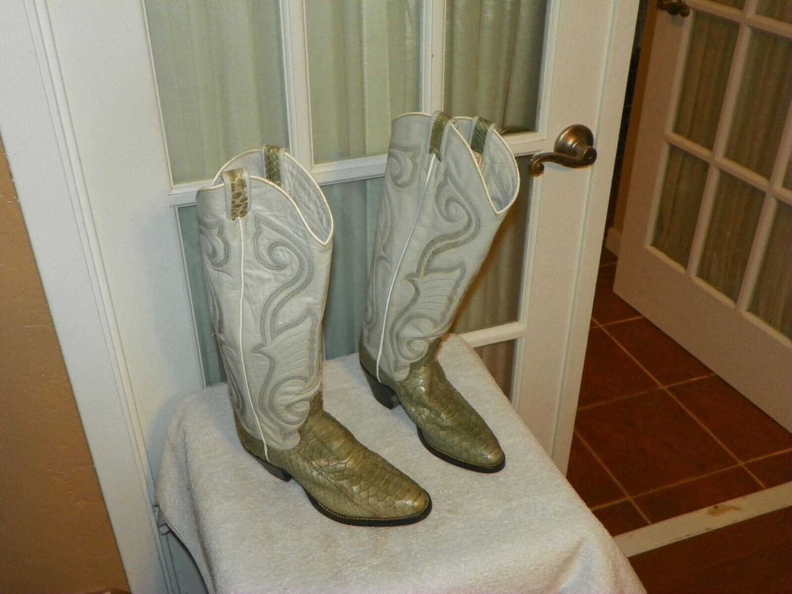 Larry Mahan 17  Alto gris para Mujer Piel De Serpiente Western Cowboy botas B Usa
