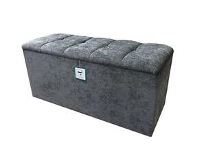 Image Is Loading SIZE 100cm QUALITY SILVER GREY CHENILLE OTTOMAN STORAGE