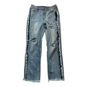 Rachel Roy Women's Size 27 Blue Ripped Mid-Rise Cropped Casual Capri Jeans
