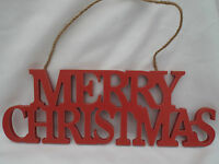 Merry Christmas Red Hanging Decoration Plaque Sign