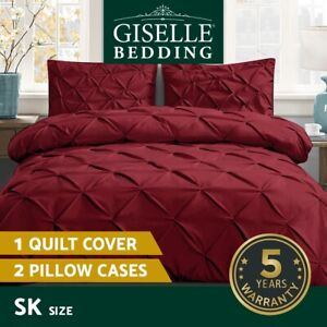 Giselle Luxury Classic Bed Duvet Doona Quilt Cover Set Super King Burgundy Red