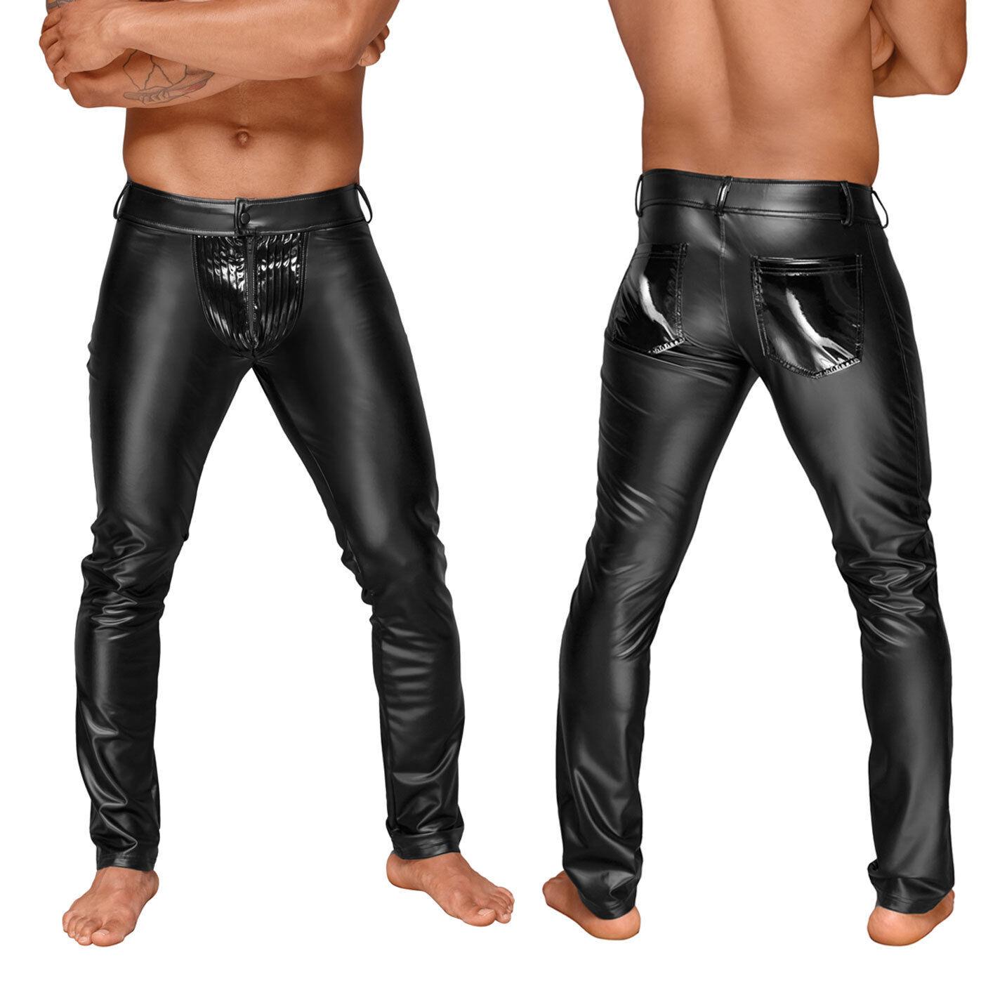 schwarz HANDMADE Power-Wetlook Herren-Hose mit Lack Cod-Piece Clubwear Vinyl Pants