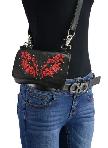 Milwaukee Leather Ladies Leather Multi Pocket Belt Bag w// Gun Holster **MP8853