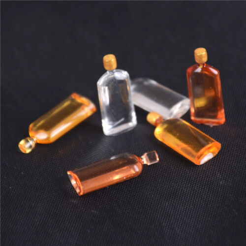 6x Dollhouse Miniature Wine Whisky Bottles Pub Bars Drinks Accessory Mini`Decors