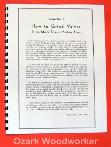 SOUTH BEND How to Grind Valves and Sharpen Reamers and Cutters Manual 0684
