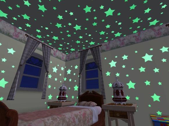 Details About 24 Glow Glowing Dark Plastic Stars Stickers Baby Kids Ceiling Wall Room Nursery