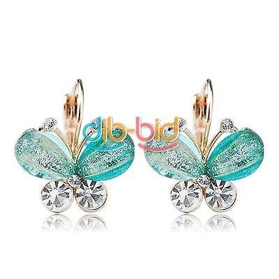 1pair Women Fashion Elegant Crystal Rhinestone Butterfly Ear Studs Earrings
