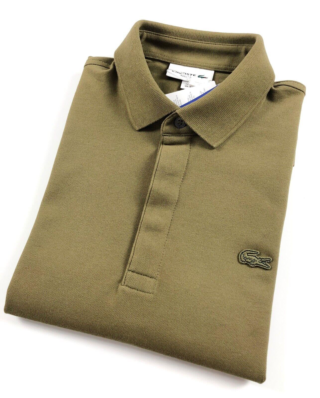 Maglietta Polo Lacoste Paris uomo Regular Fit Stretch piquet verde kaki PH552200UXF