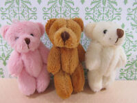 6 Little Furry Teddy Bear 3.5 Applique Craft Doll/trim/cute/baby Favor H121