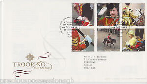 TALLENTS-GB-ROYAL-MAIL-FDC-FIRST-DAY-COVER-2005-TROOPING-THE-COLOUR-STAMP-SET