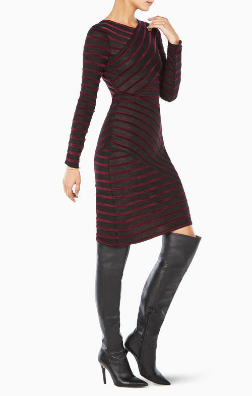 NEW BCBG MAX AZRIA BORDEAX COMBO JERRI STRIPED DRESS SKW65J13 B735W SIZE XS