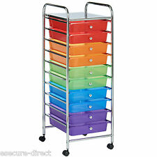VonHaus Multi Colour 10 Drawer Chrome Kids Toys Home Office Storage Unit Trolley