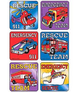 18 Foil Rescue Vehicles Transportation  Stickers Party Favors Police Fire Boat