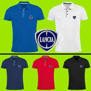 Lancia-Polo-T-Shirt-Auto-Voiture-Logo-Brode-Slim-Homme-Delta-Integrale-Racing