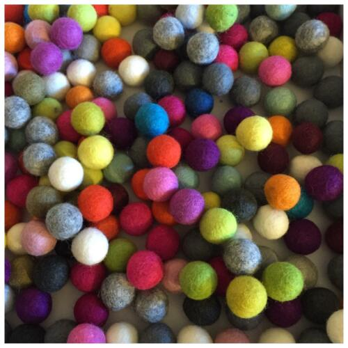 Fair Trade Nepal Wool Ball Felt Colourful Bright Felt Balls 2cm 20mm 1cm 100