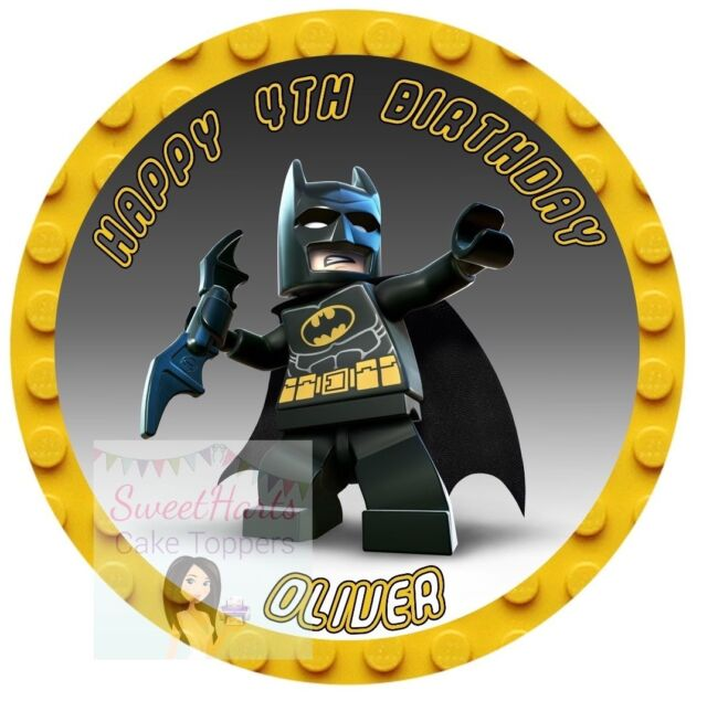 LEGO BATMAN NUMBER AND LETTERS PERSONALISED EDIBLE ICING CAKE TOPPER