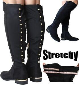 Womans Black Knee High Boots Nylon
