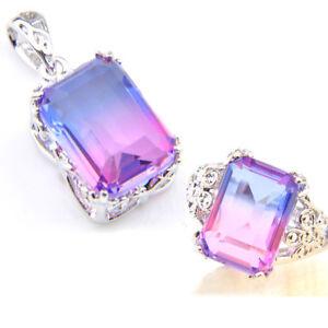 4 pcs 1 Lot Purple Amethyst Gemstone Silver Necklace Bracelet Earrings Rings Set